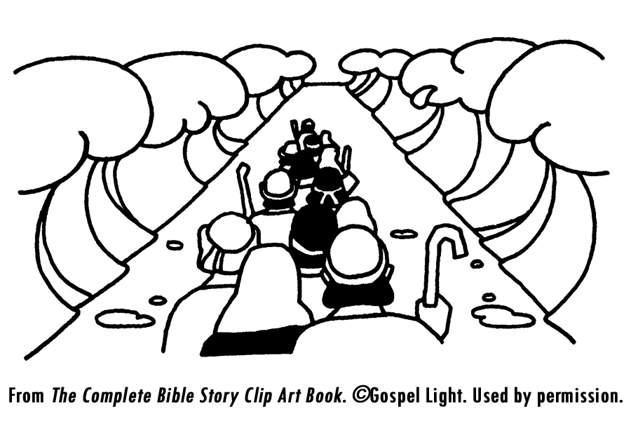 9 Images Of God Parting The Sea Red Coloring Page Moses And Pages Ten Commandments Parts