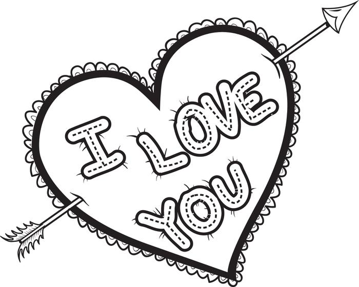 Colored hearts Clipart – Coloring Page