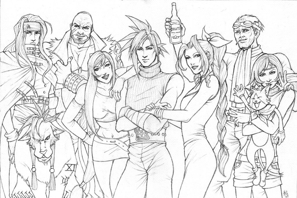 Final Fantasy 7 Coloring Pages Coloring Home