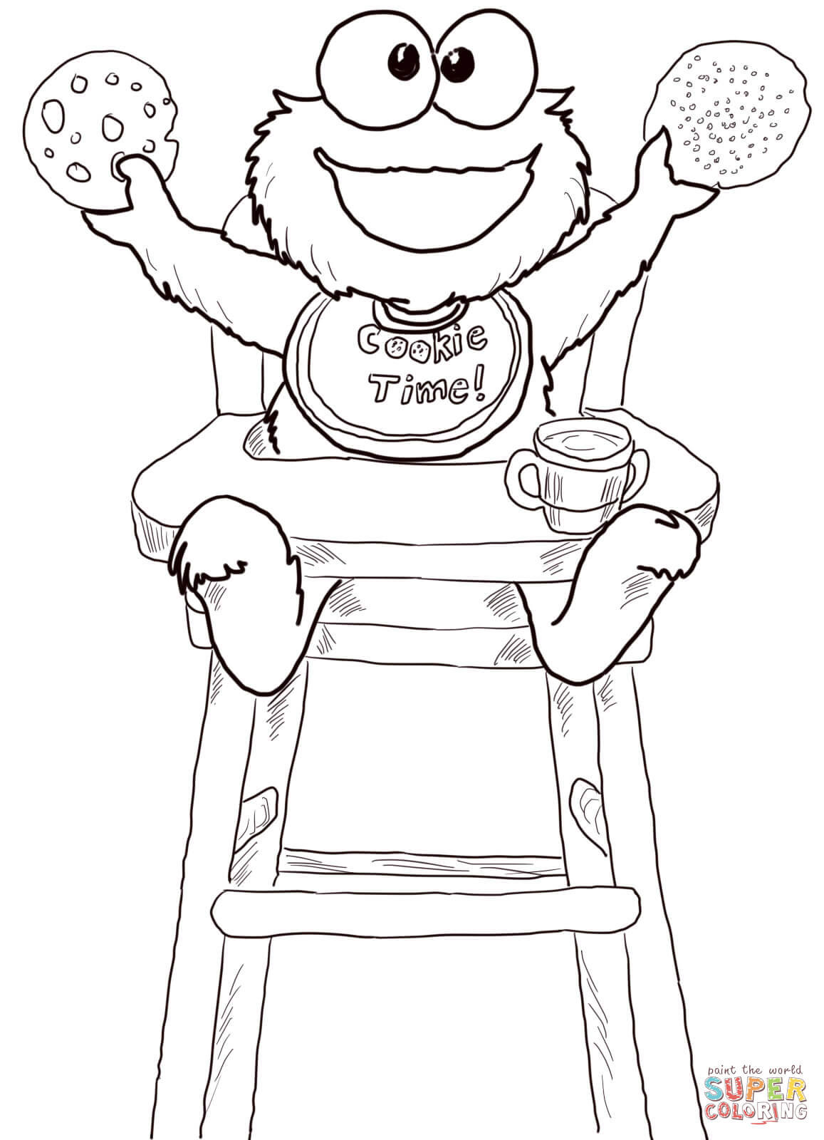 Cookie Time for Cookie Monster coloring page | Free Printable ...