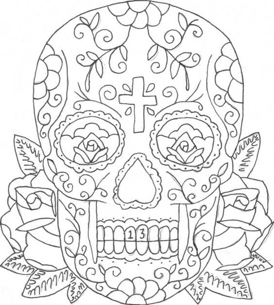 Adult Coloring Pages Sugar Skull Coloring Home