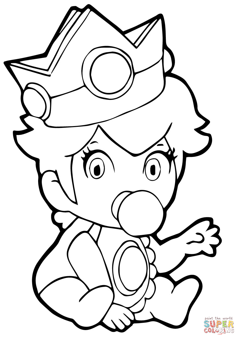 Mario Luigi Peach Daisy Bowser Toad Picture Coloring Page
