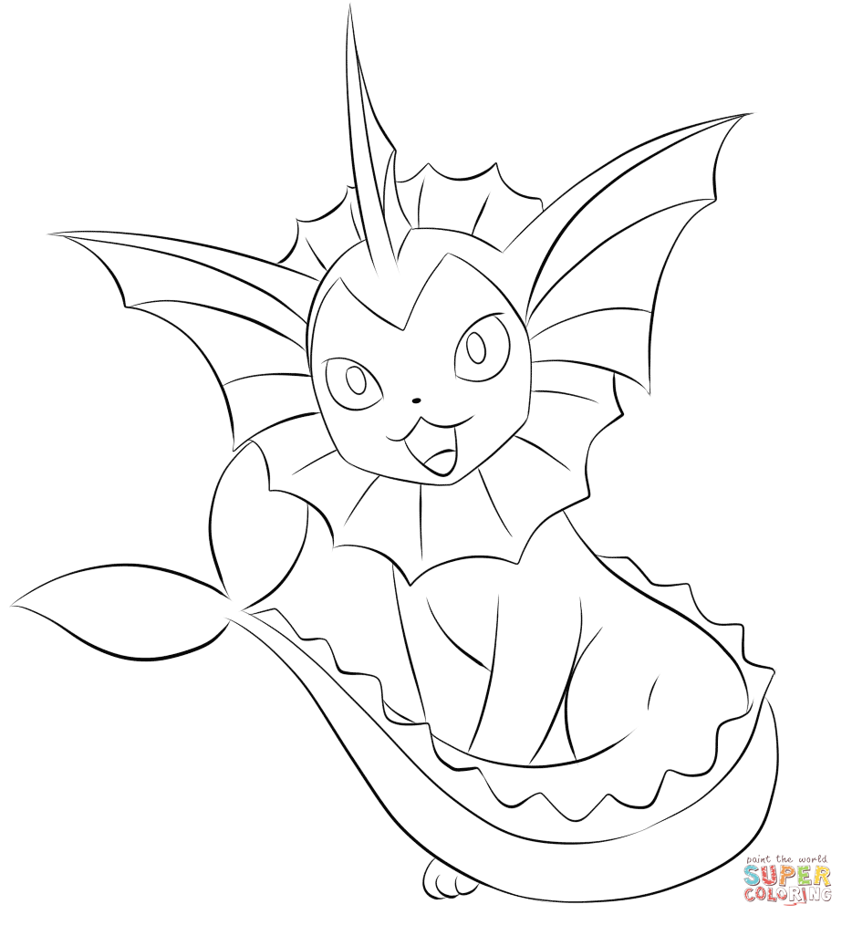 Vaporeon coloring page | Free Printable Coloring Pages