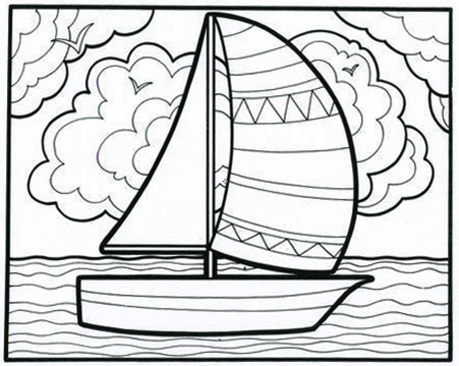 Sailboat Coloring Page - Coloring Home