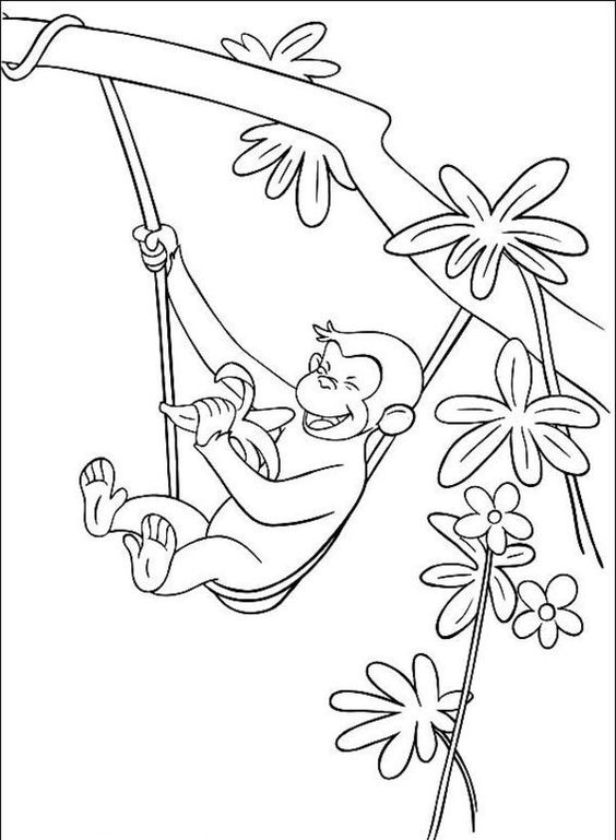 George The Monkey Eating A Banana In The Tree Coloring Pages ...