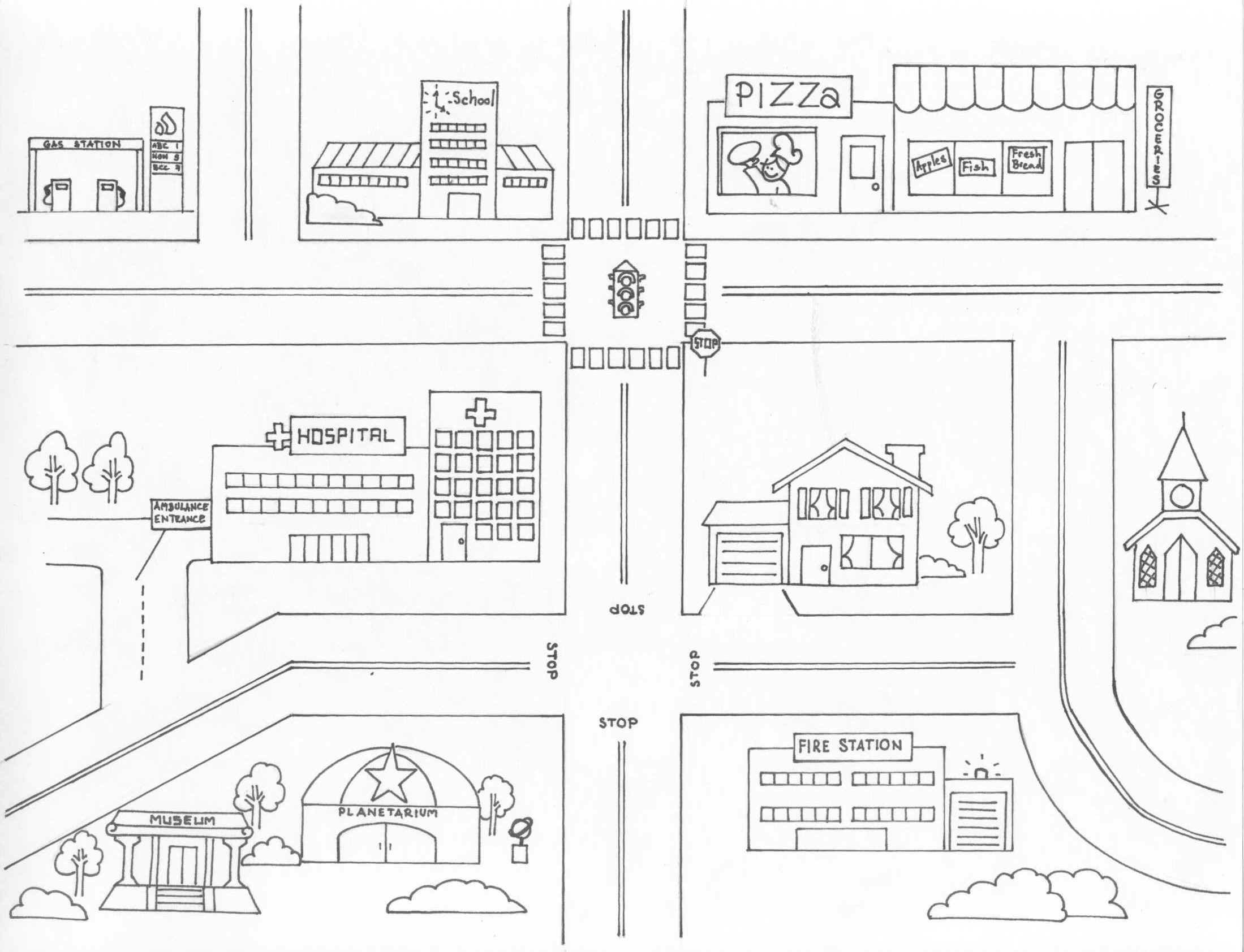 Neighborhood Map Coloring Page - Coloring Home