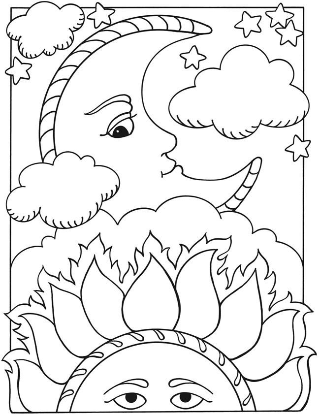 sun moon coloring page - Clip Art Library