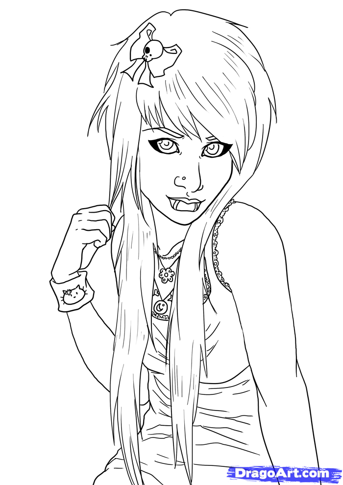 anime girl coloring pages emo - photo#18