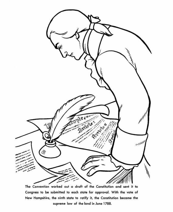 American Revolution Coloring Pages Pdf : Constitution day coloring page home