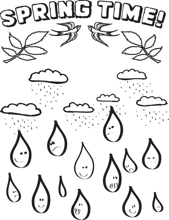 Printable Raindrops - Coloring Home