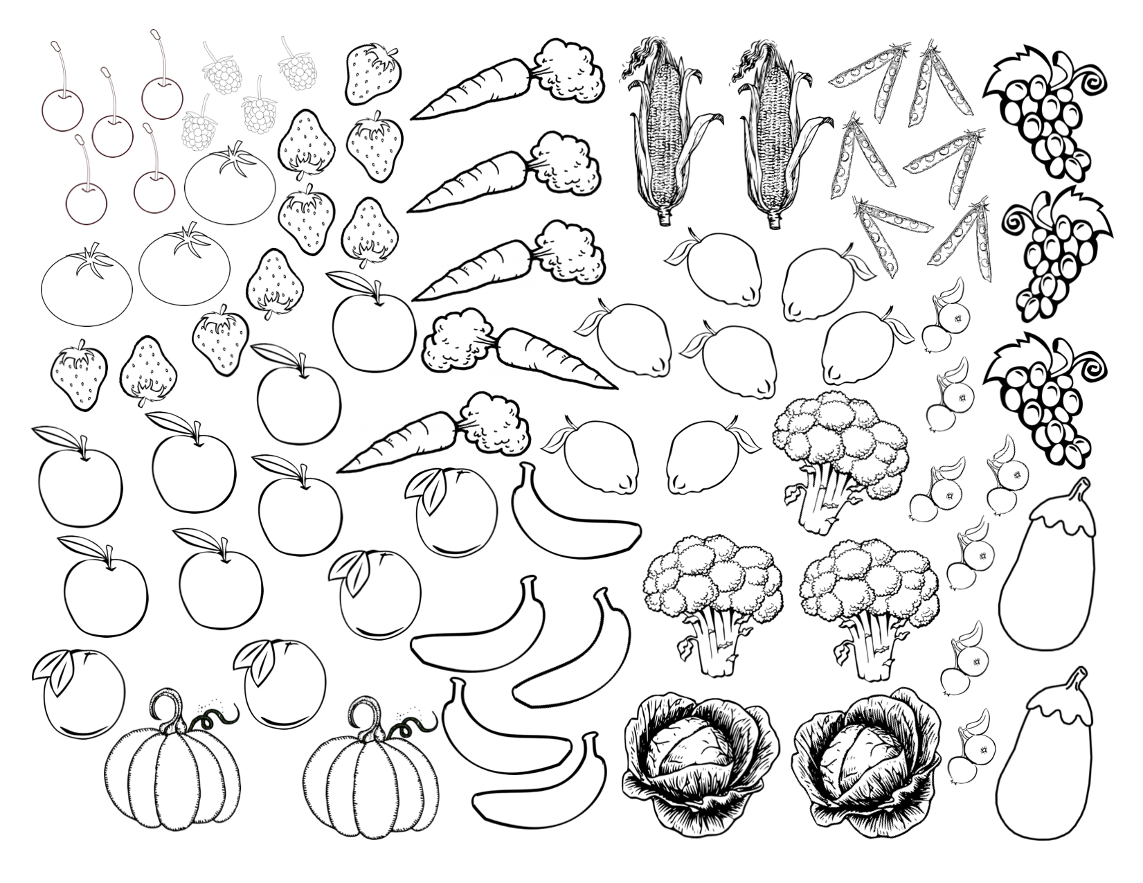 Fruits and vegetables coloring pages for kids printable for Coloring pages fruits and vegetables