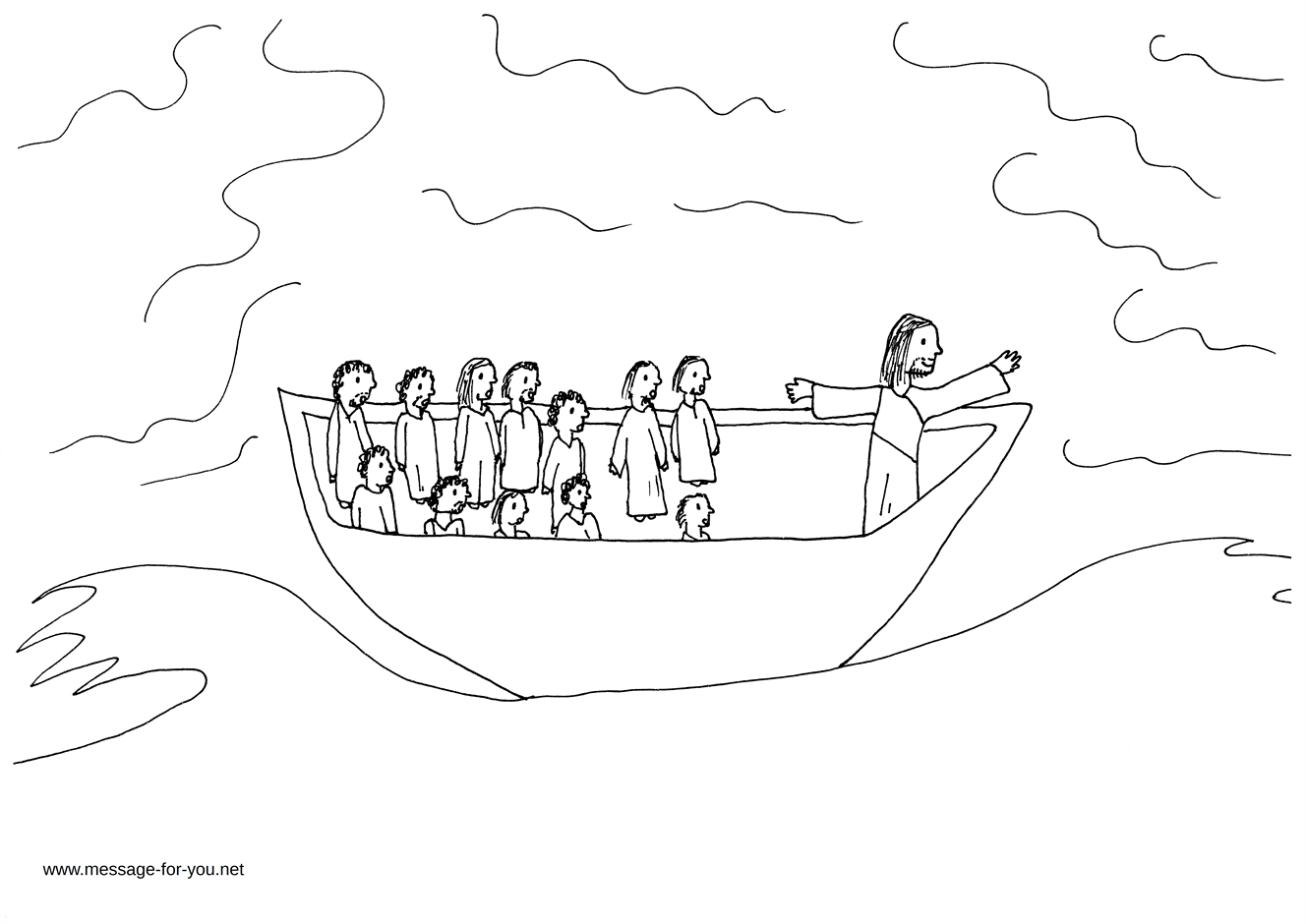 Coloring Page Jesus Calms The Storm