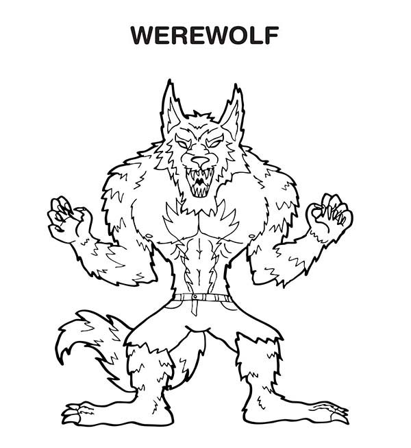 scary werewolf coloring page - Halloween Werewolf Coloring Pages