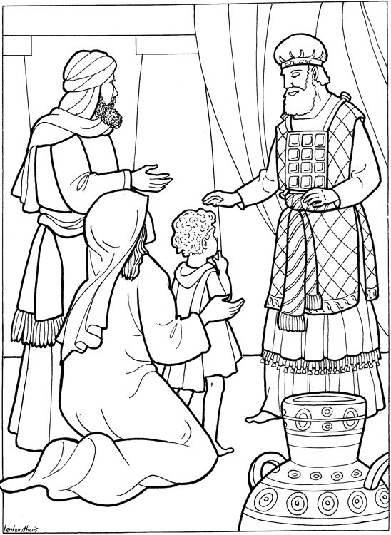 Samuel Coloring Pages From The Bible Hannah Presents To God Keeping Her Promise Dedicate Him Gods Service