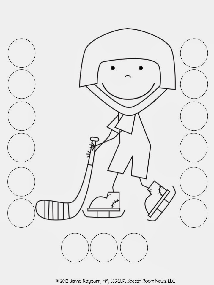 Hockey Player Do A Dot Art Coloring Page