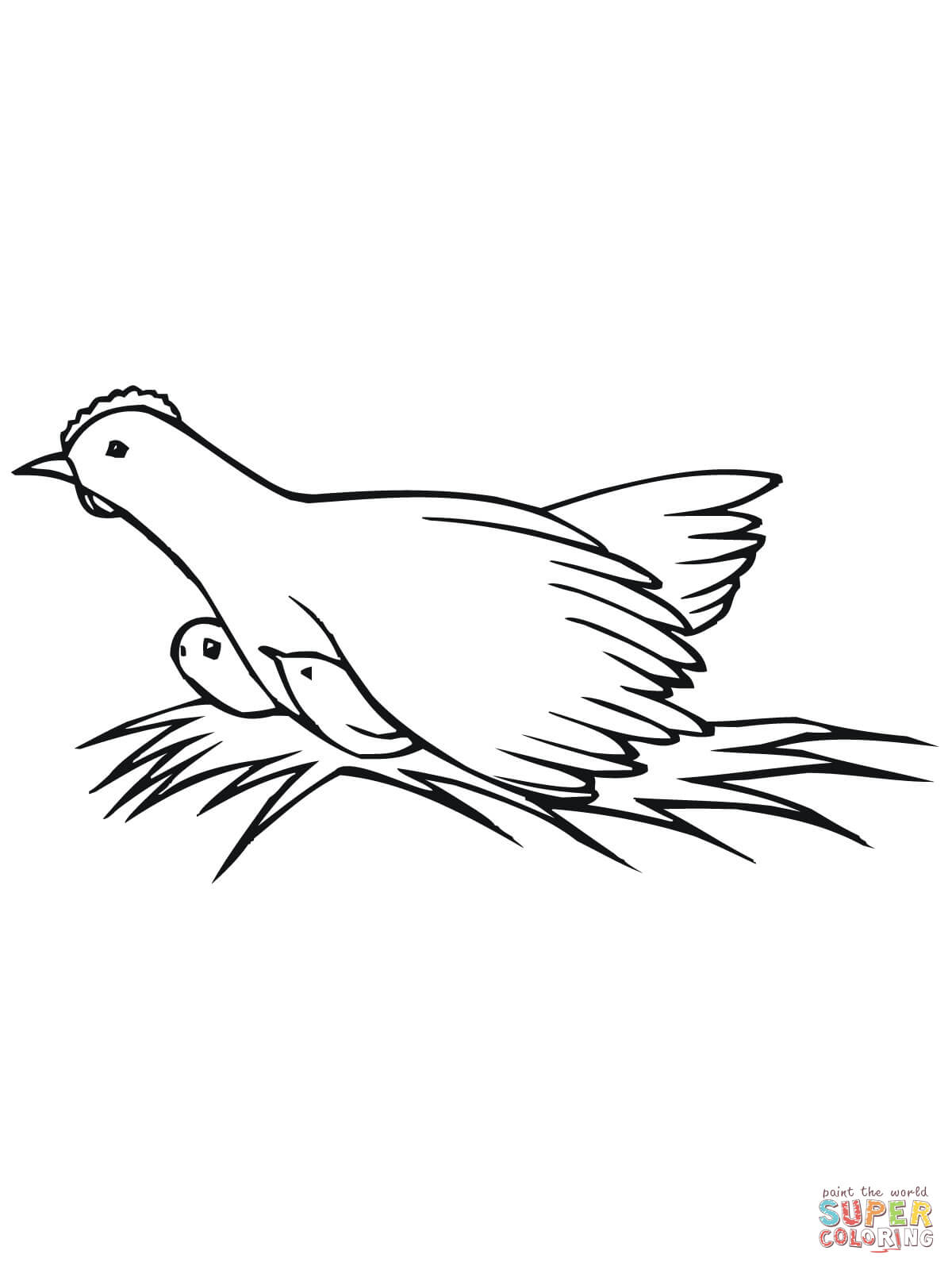 Hen And Chicks Coloring Page Coloring Home