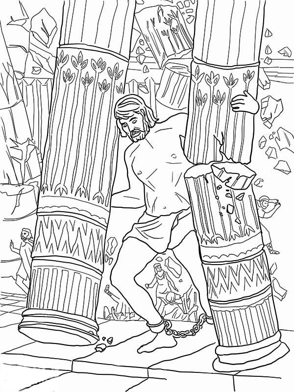 samson grasped two pillars of the temple of dagon coloring page coloring home