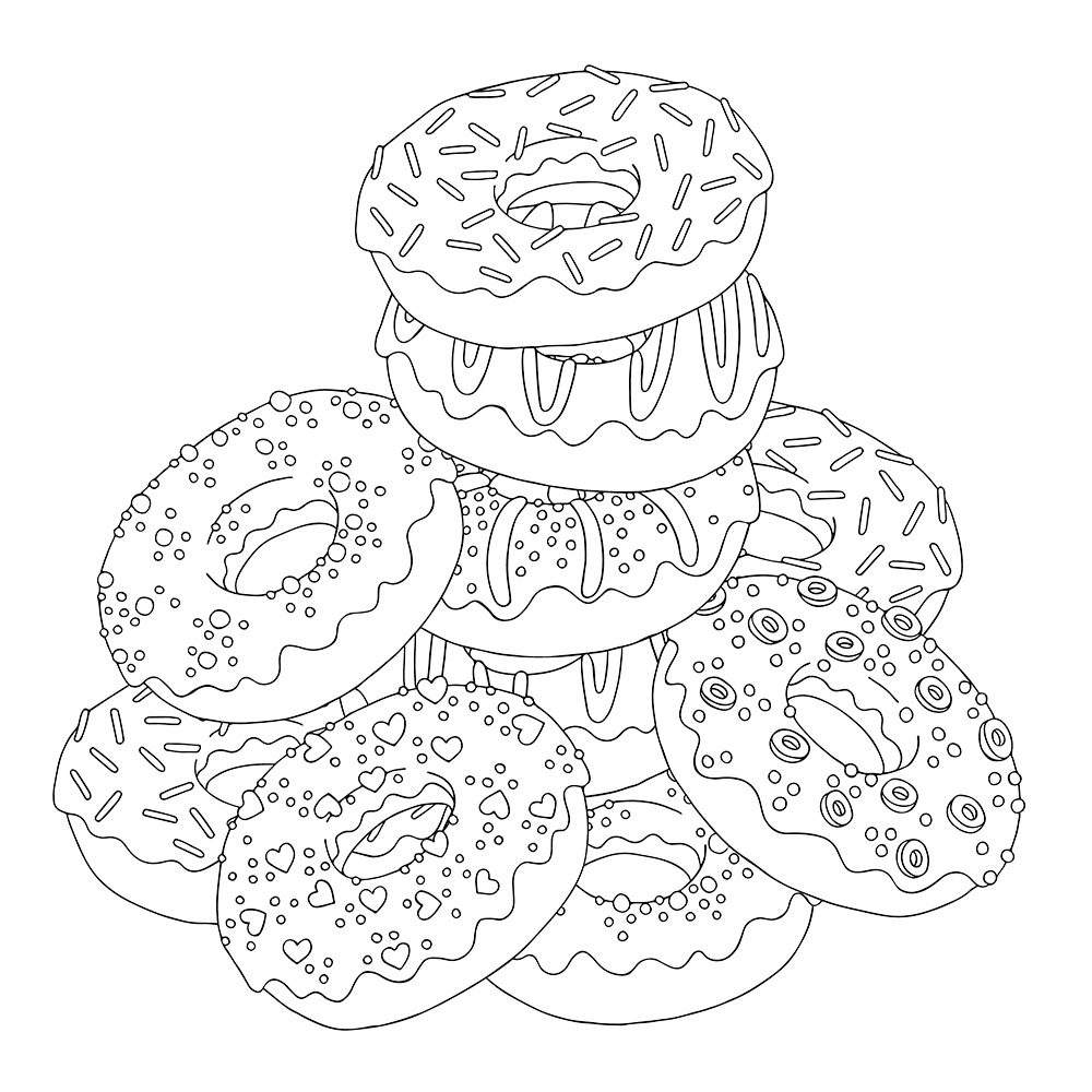 - Donut Coloring Pages - Coloring Home