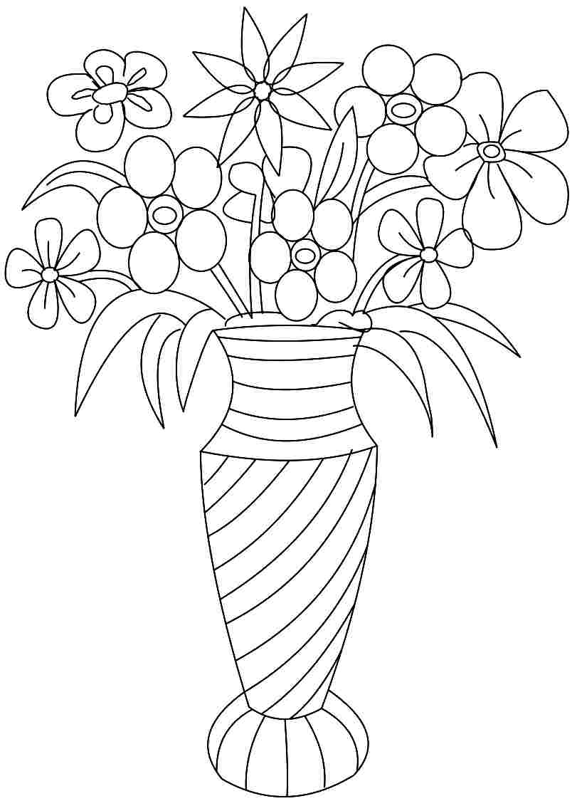 Vase And Flowers Coloring Page - Coloring Home