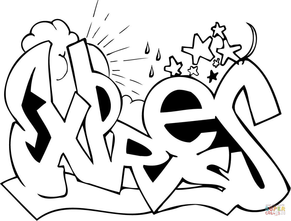 coloring graffiti pages online - photo#7