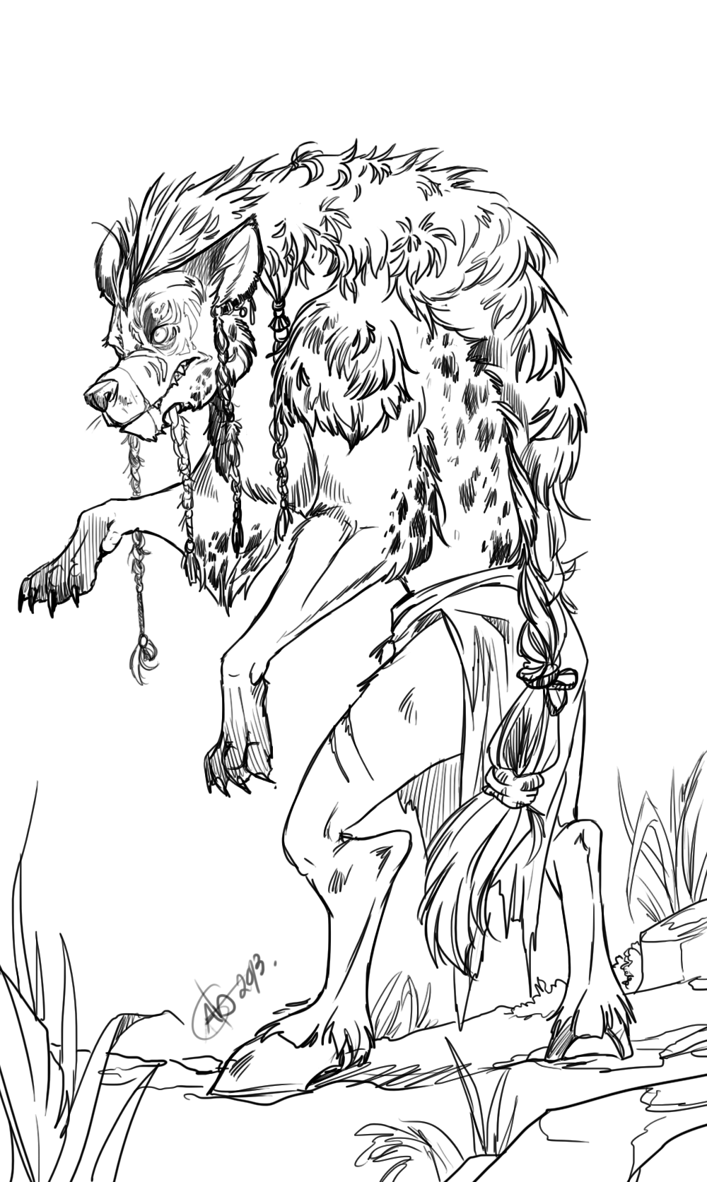 Hyena Coloring Pages Scary Image For Adult | Coloring.Cosplaypic.com
