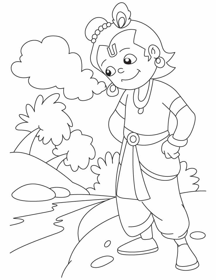 Krishna coloring page coloring home for Coloring pages of krishna