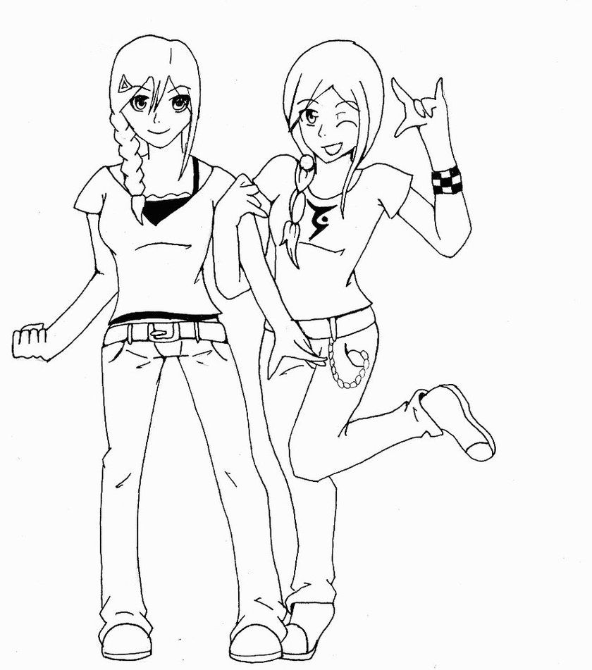anime sisters coloring pages-#1