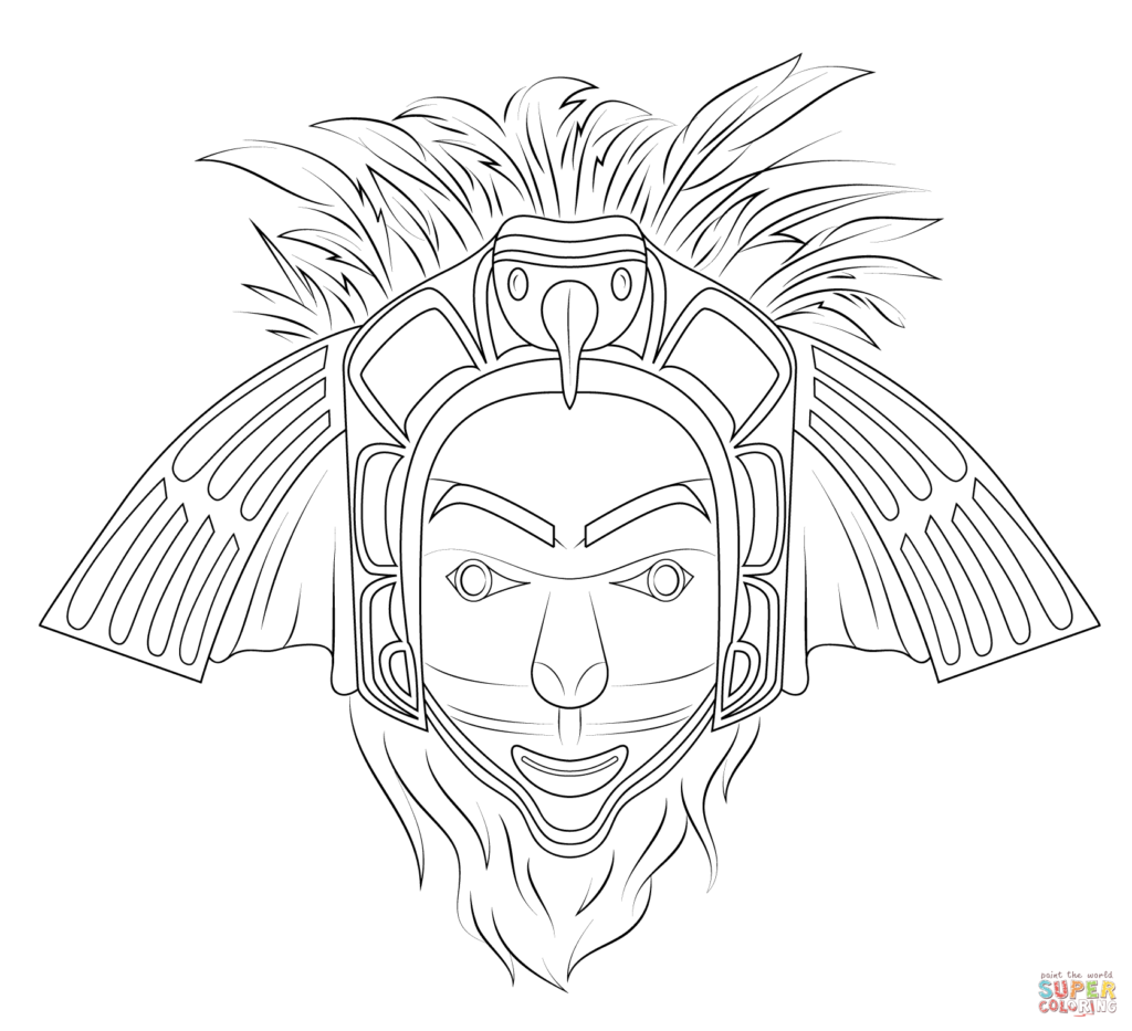 coloring pages native american eagle mask coloring page free