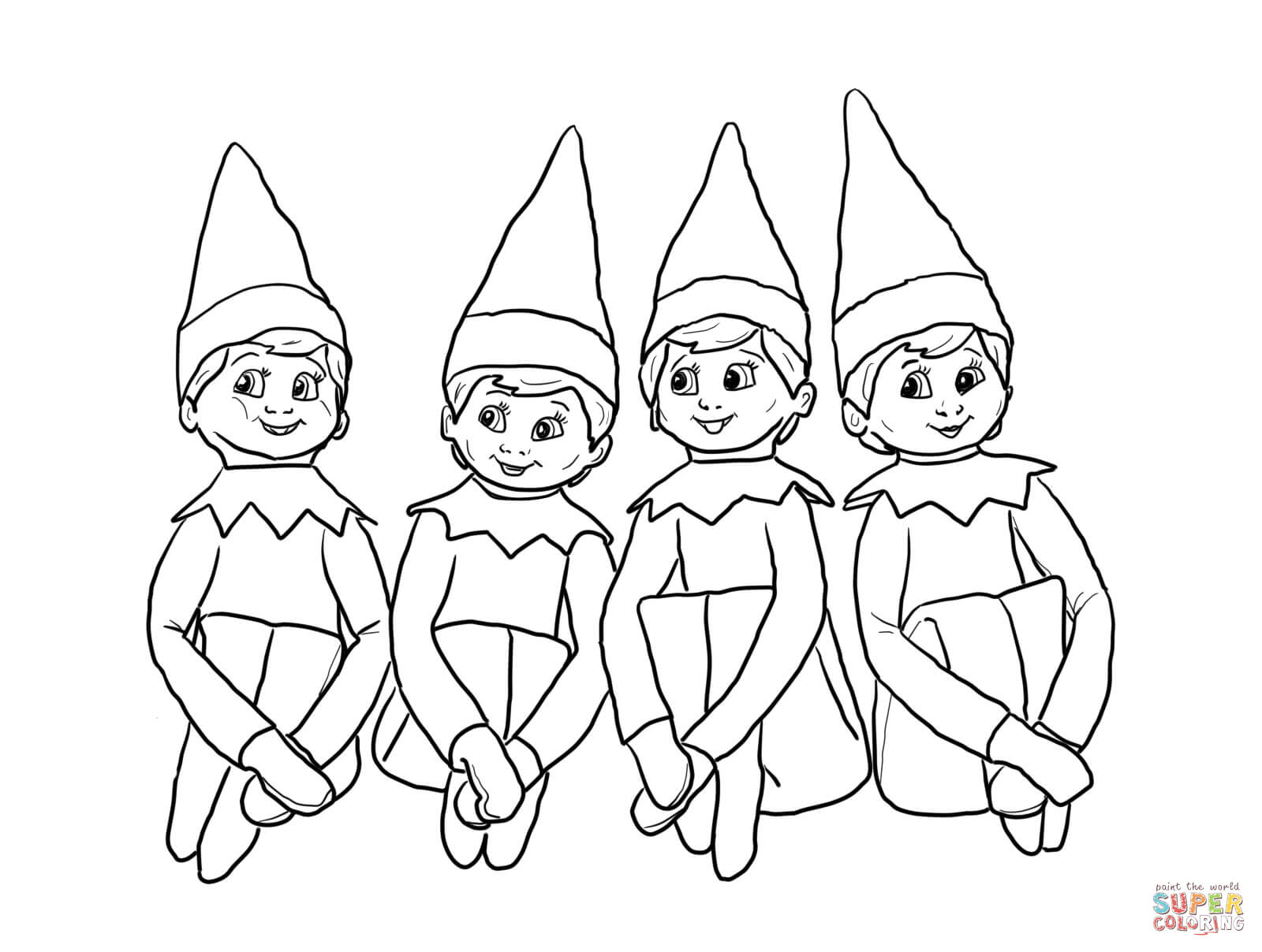 Elf On The Shelf Coloring Pages To Print Coloring Home On The Shelf Coloring Page