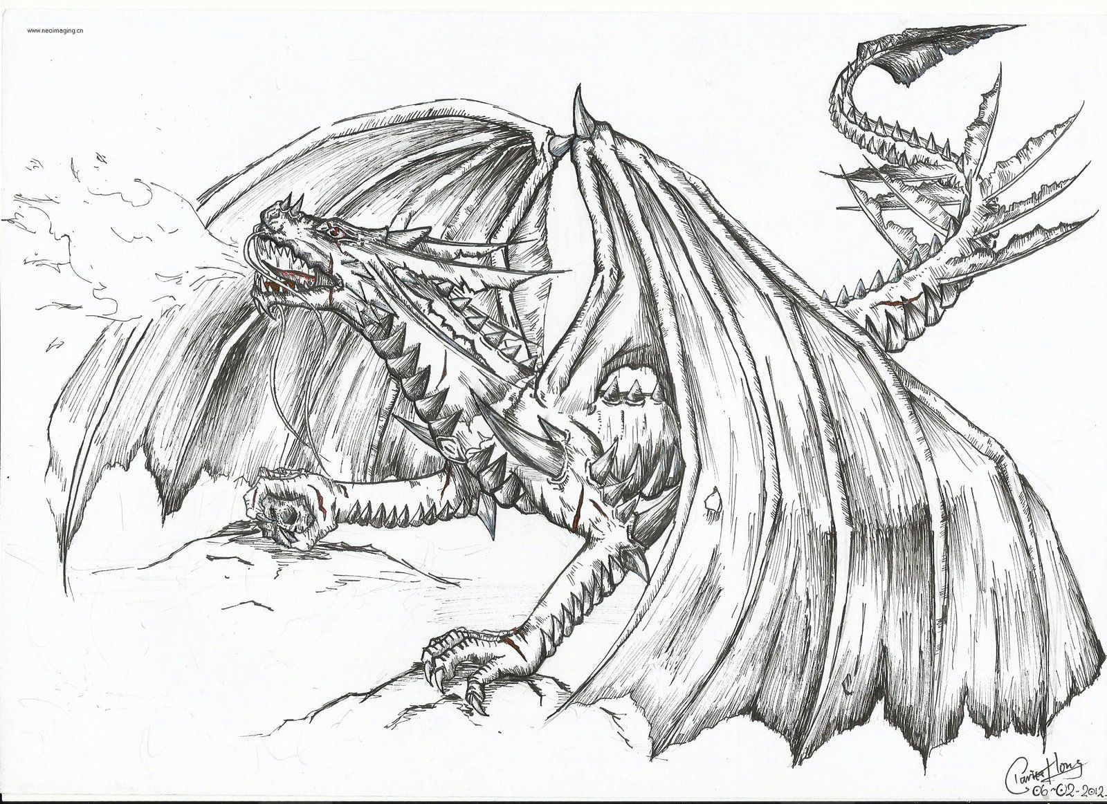 Fire Breathing Dragon Coloring Pages - AZ Coloring Pages