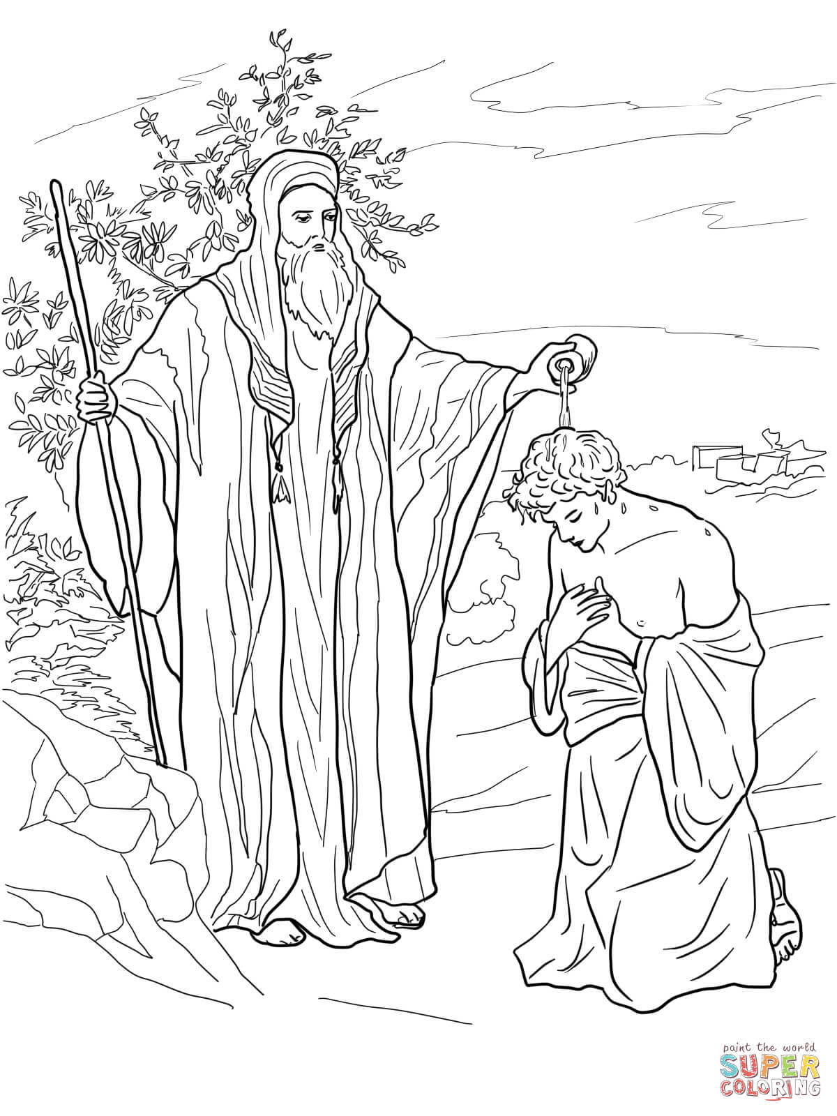 Hannah Brought Samuel to Eli coloring page | Free Printable ... | 1600x1200