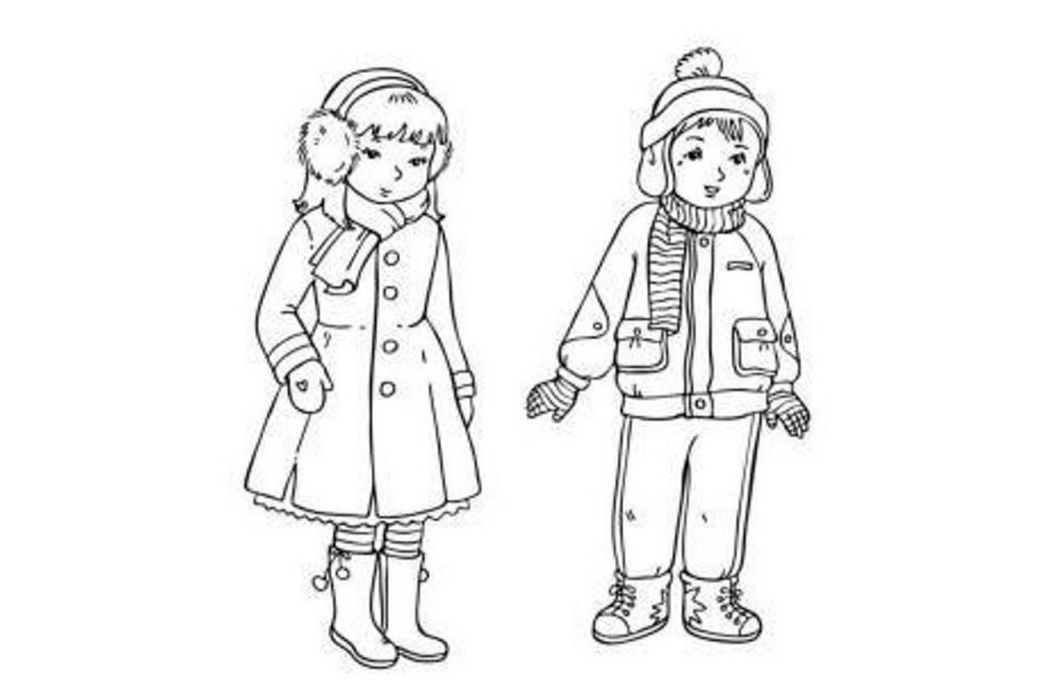 Children With Winter Cloths Coloring