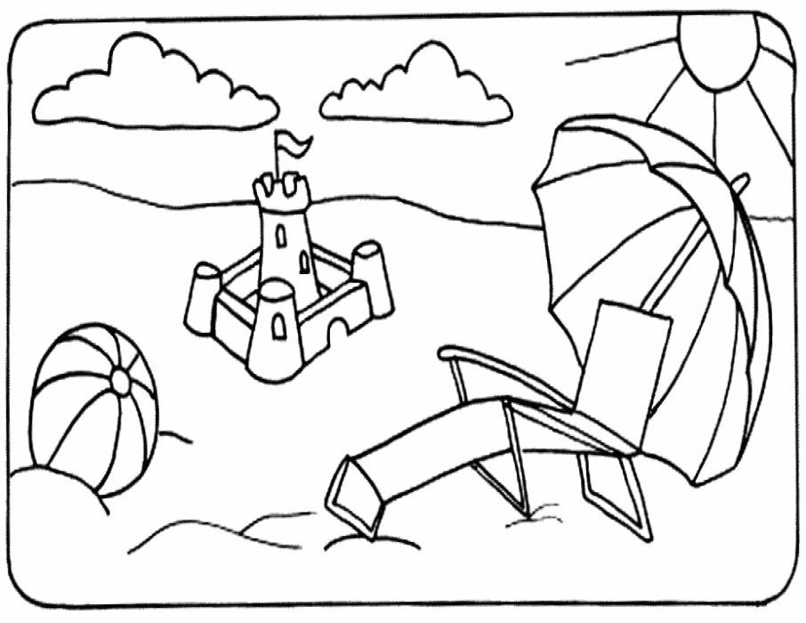 beach scene coloring page coloring pages for kids and for adults