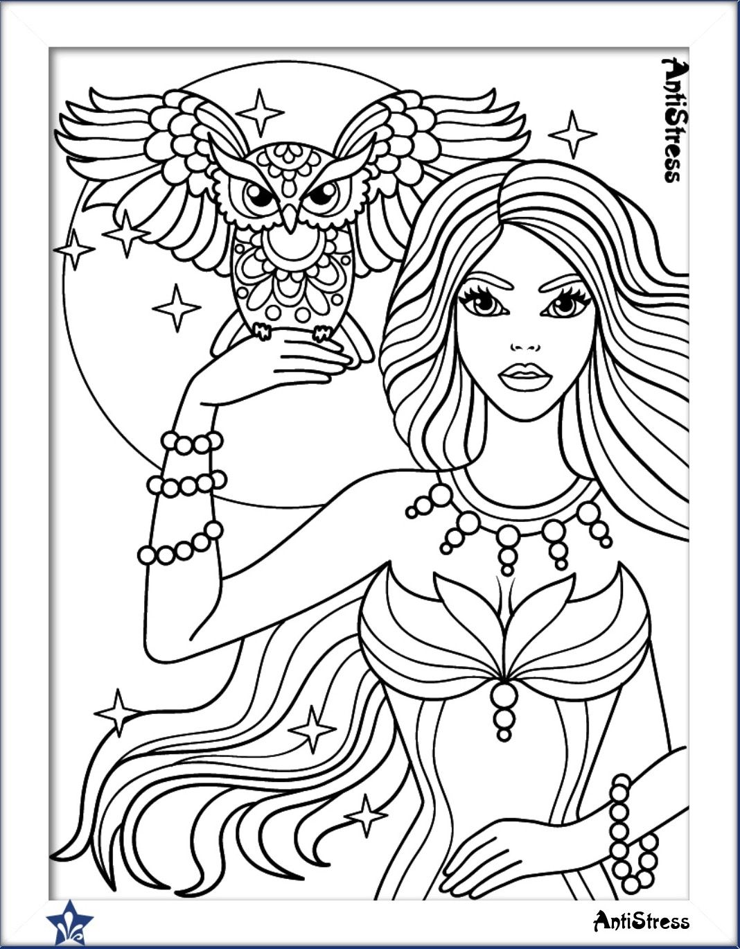 Owl and girl coloring page | Cute coloring pages, Owl coloring ...