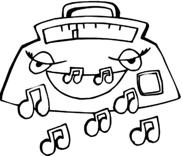 Radio Expelling Music Notes Coloring Page - Download & Print ...