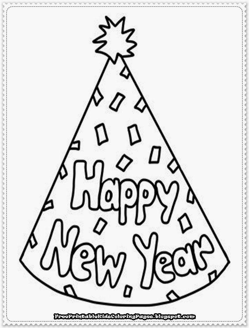 Happy New Year Hat Coloring Pages - Coloring Home