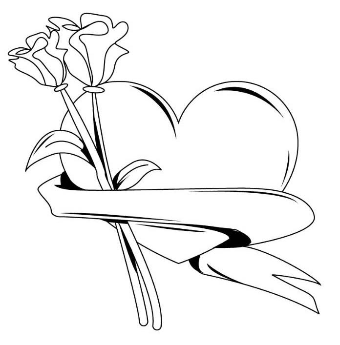 Hearts With Wings And Roses Coloring Pages