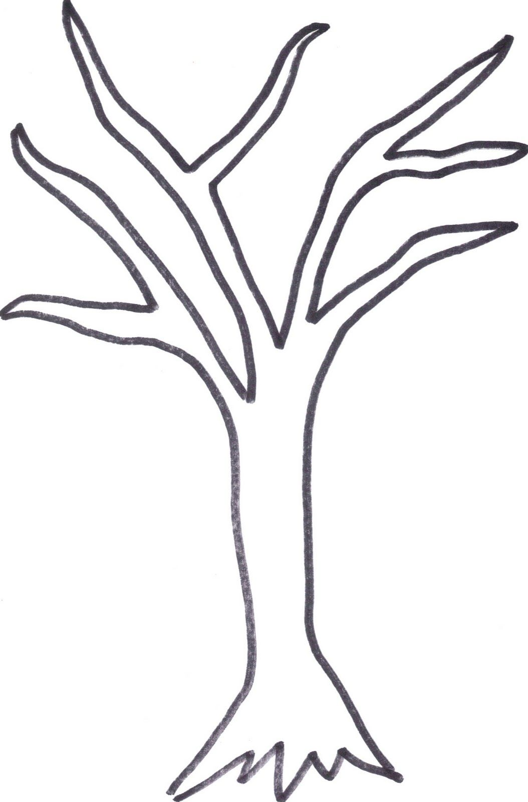 It is a photo of Printable Tree Template within outline