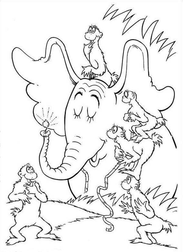 Horton Telling To The Wickershams About Clover In Hears A Who Coloring Pages