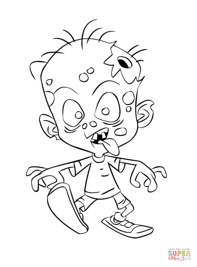 Zombie Child Coloring Page Free Printable Coloring Pages
