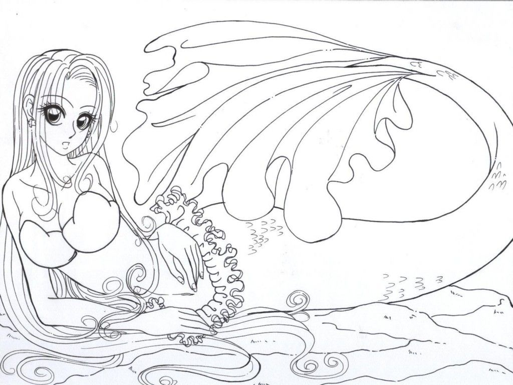 Anime Mermaid Coloring Pages 18