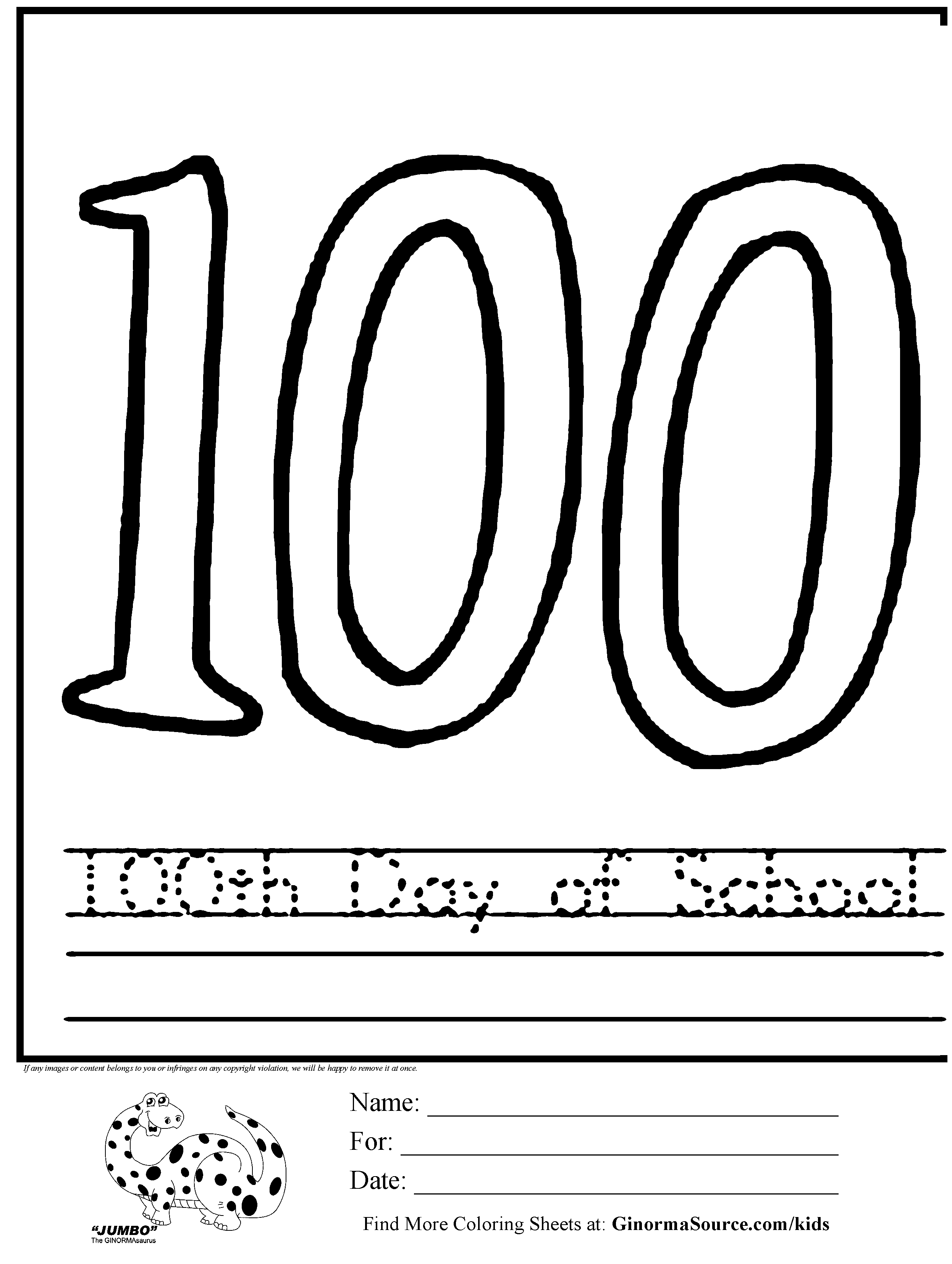 - 100th Day Of School Coloring Pages Free - Coloring Home