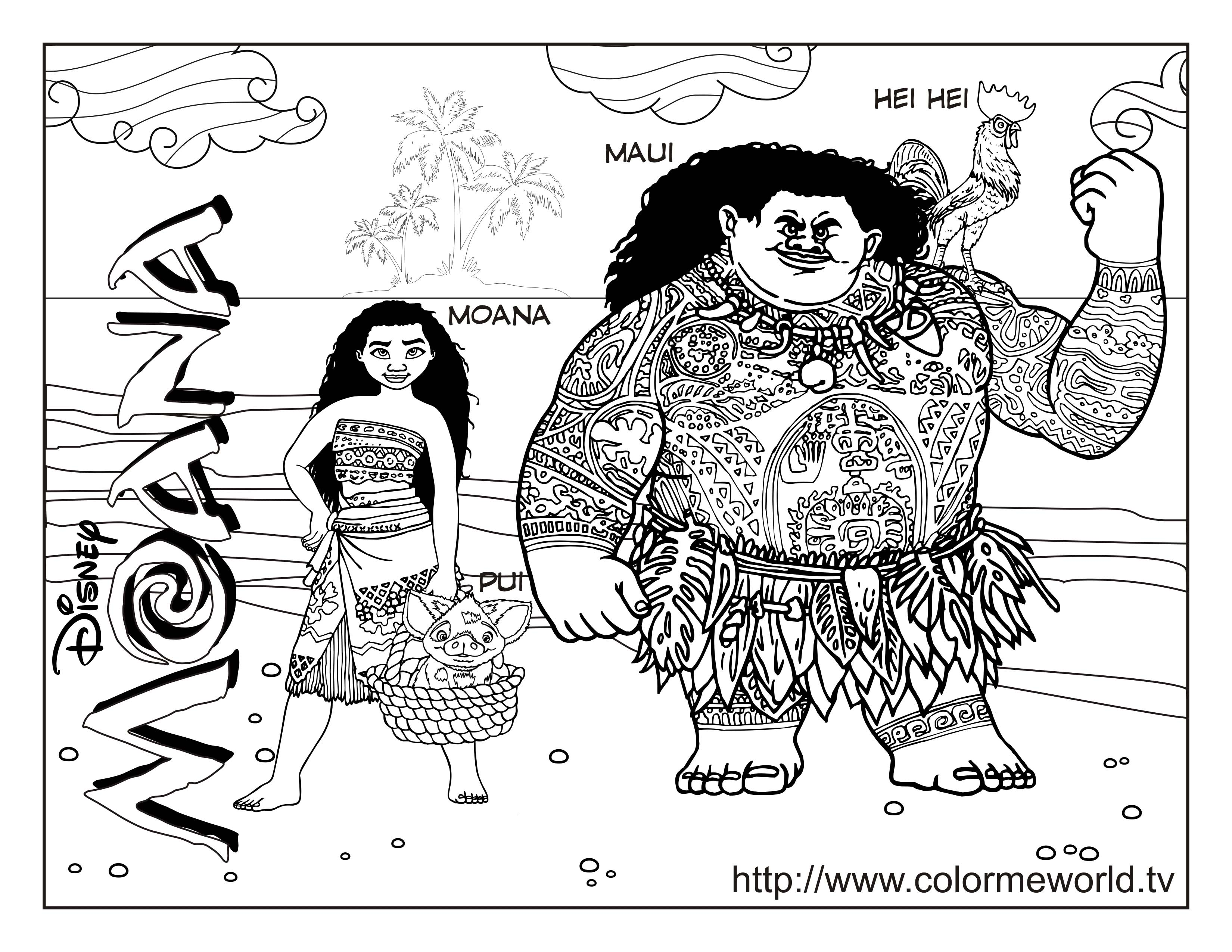 Moana, Maui and Hei Hei Coloring Page