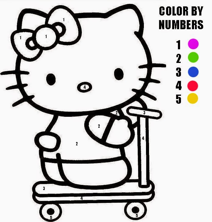 Hello Kitty Color By Number Coloring Page