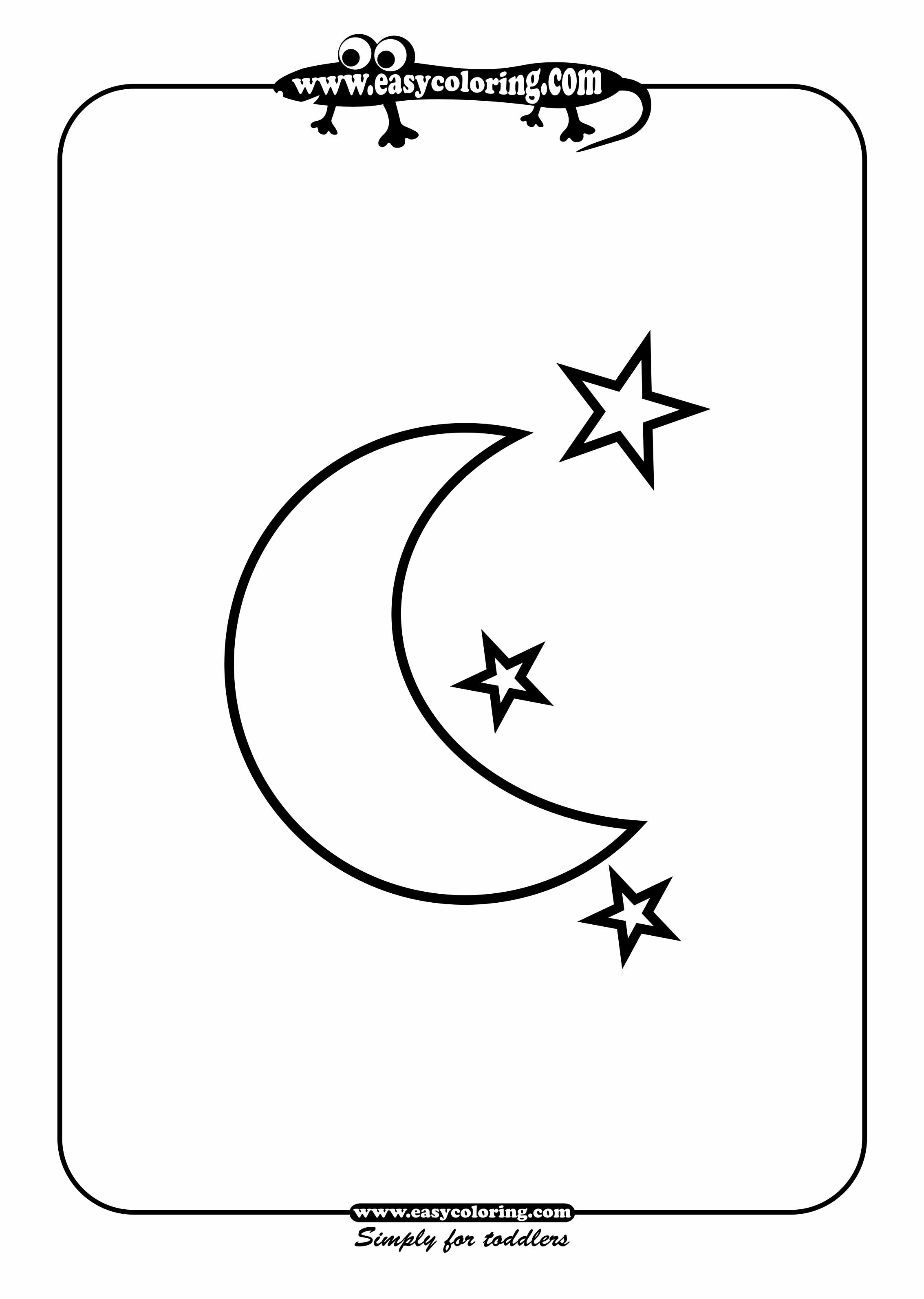 4 best images of half moon and stars printable crescent for Half moon coloring pages