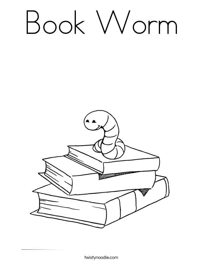 Book Worm Coloring Page - Twisty Noodle