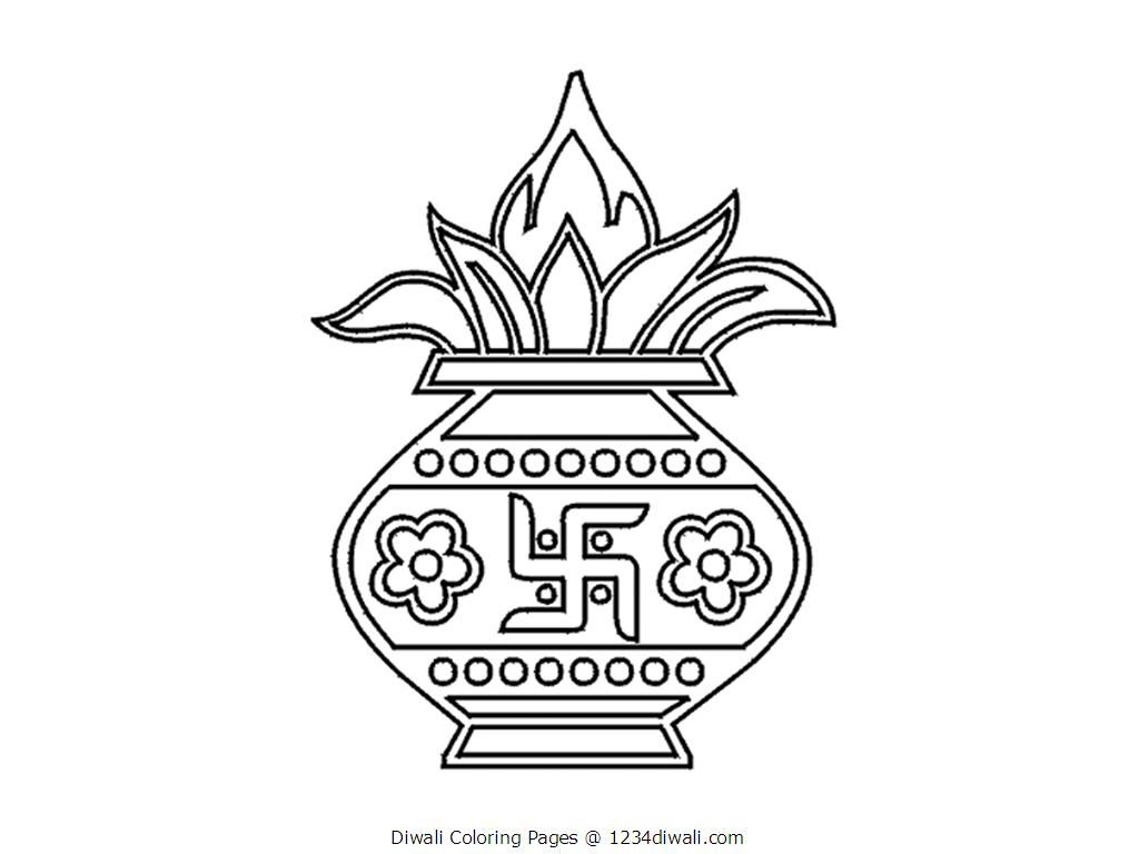 Diwali Coloring Page - Coloring Home