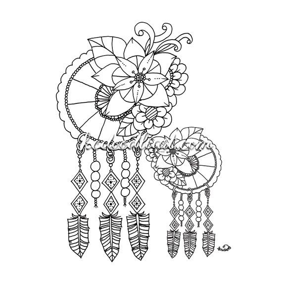 1000 About DreamCatcher Coloring Pages For Adults