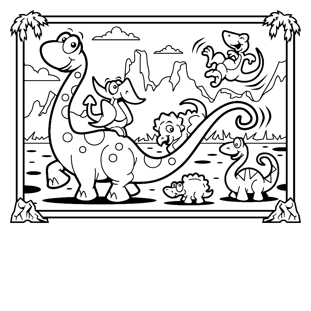 Cute Dinosaur Coloring Pages For Kids - Coloring Home