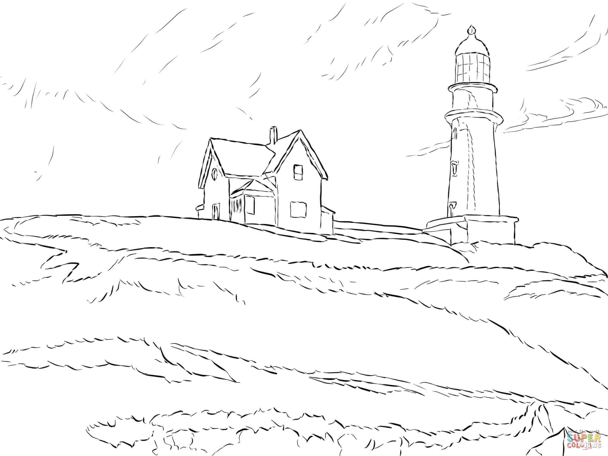 Realistic Lighthouse Coloring Pages  Coloring Home